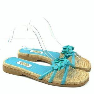 Talbots sandals sz 7.5 espadrilles blue leather